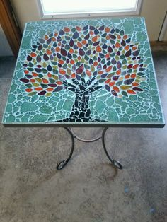 Mosaic tree table by Nicole Marie Artistry