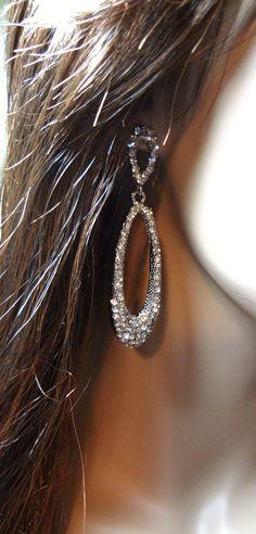 Long Rhinestone earrings Bridal jewelry by QueenMeJewelry Bride Earrings, Rhinestone Earrings, Wedding Earrings, Statement Earrings, Bridal Accessories, Wedding Jewelry, Women Jewelry, Make Up, Contemporary Jewellery
