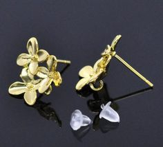 """5//8/""""x3//8/"""" 10 PCs Copper Earring Post Flower Gold Plated 17mmx10mm"""