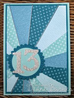 sunburst starburst birthday card, Stampin Up, by Di Barnes, Diane Barnes - Independent Stampin Up! Demonstrator in Sydney Australia. Papercraft and stamping shop, creative classes and ideas Birthday Cards For Boys, Bday Cards, Handmade Birthday Cards, Happy Birthday Cards, Teen Birthday, Princess Birthday, 15th Birthday, Birthday Ideas, Karten Diy