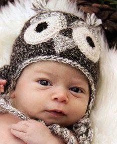 Undyed Alpaca Owl Hat for Baby size Newborn to Three Months. $36.00, via Etsy.