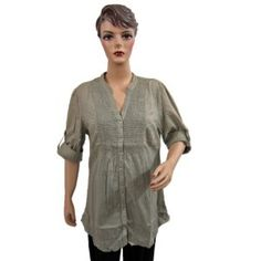 Womens Boho Designer Grey Blouse Front Button Tunic Top Medium Size (Apparel)  http://www.picter.org/?p=B007LHW62A