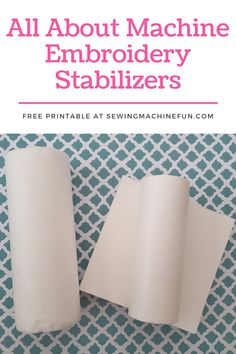 Learn how to choose the best machine embroidery stabilizer for your project in this beginner embroidery tutorial. Grab the free machine embroidery stabilizer printable chart after learning all about stabilizers in this guide. #beginnerembroidery #embroiderymachine #embroiderytutorials Hand Embroidery Patterns Free, Embroidery Flowers Pattern, Simple Embroidery, Machine Embroidery Applique, Embroidery Ideas, Sewing Patterns, Diy Embroidery For Beginners, Printable, Chart