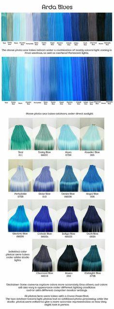 Blue shades (for hair) Blue Hair Colour, Periwinkle Hair, Dark Blue Hair Dye, Royal Blue Hair, Raven Hair Color, Indigo Hair Color, Smokey Blue Hair, Cool Hair Colours, Bright Blue Hair