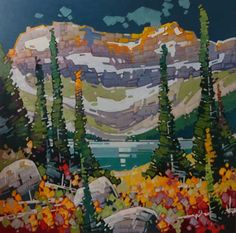 "Cameron Bird AFTER THE RAIN - CAMERON LAKE / Canada House Gallery - oil, canvas 60"" x 60"""
