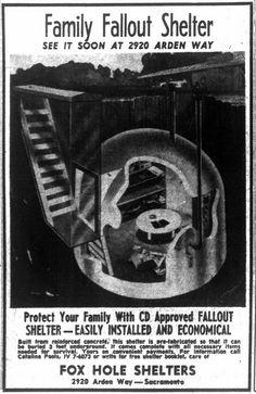 Eichler Homes in Sacramento: Residential Bomb Shelters in Sacramento Sacramento, Vintage Advertisements, Vintage Ads, Nuclear War, Nuclear Apocalypse, Bomb Shelter, Underground Bunker, E Mc2, Survival Shelter