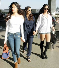 Check out Sridevi, Jhanvi and Khushi Kapoor turn heads at the airport with their style! - Sridevi Kapoor with daughters Jhanvi and Khushi are a style squad you'd want to be a part of - view HQ pics Western Outfits, Western Wear, Indian Outfits, Cool Outfits, Casual Outfits, Summer Outfits, Fashion Outfits, Fashion Story, Fashion Ideas