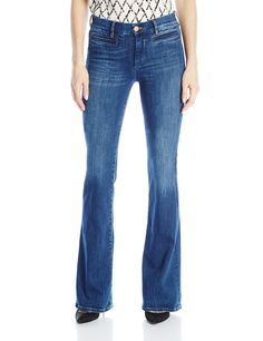 MiH Jeans Women's Marrakesh High Rise Kick Flare Jeans, Clarice, 26. High-rise jean in medium wash featuring flare leg and whiskering and fading to the knees. Welted front pockets. Zip fly with button.