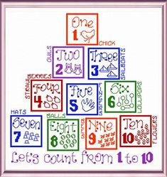 Lets Count 'Words' cross stitch pattern designed by Ursula Michael,