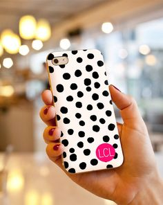 Custom Monogrammed Polka Dot iPhone Case by LauraCLeBlanc on Etsy