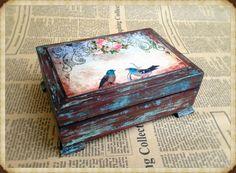 Wooden jewelry box Elegant gift. Decoupage box vintage by ArtDidi