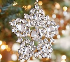 Silver Jeweled Snowflake Ornament #potterybarn