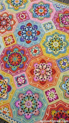 the eastern Jewels crochet blanket : The Stitching Mommy: WOW! the eastern Jewels crochet blanket original pattern here: WOW! the eastern Jewels crochet blanket Crochet Afghans, Crochet Motifs, Crochet Blocks, Crochet Squares, Crochet Blanket Patterns, Granny Squares, Knitting Patterns, Afghan Patterns, Pixel Crochet Blanket