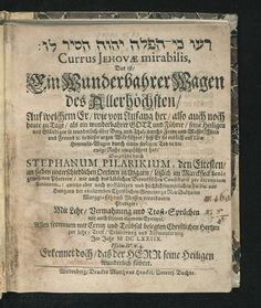 "1678 the song ""Currus Jehovae Mirabilis"" uses the name Jehovah #Tetragrammaton…"