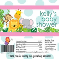 Thanks for visiting my shop!  This is for a for one of my adorable #Baby #Shower #Candy #Bar Wrappers. This listing offers you both the #digital #file or printed wrappers.   Thes... #party #favors #hershey #candy #bar #wrapper #baby #shower #jungle #safari #elephant