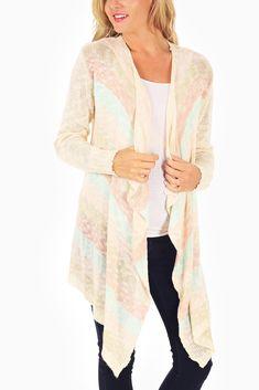 Ivory-Pink-Aqua-Striped-Knit-Flowy-Maternity-Cardigan #maternity #fashion #cutematernityclothing #cutematernitytops #affordablematernityclothing #transitionalclothing