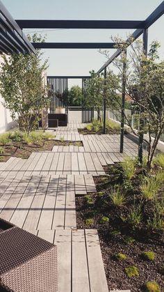 omgevingsaanleg pergola structuur terras tuin Green Architecture, Landscape Architecture, Landscape Design, Sustainable Architecture, Residential Architecture, Contemporary Architecture, Pavilion Architecture, Pergola, Rooftop Terrace