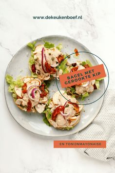 Bagel met gerookte kip en tonijnmayonaise ⋆ De keukenboef Bagels, Ketchup, Om, Avocado, Tacos, Ethnic Recipes, Salads, Lawyer