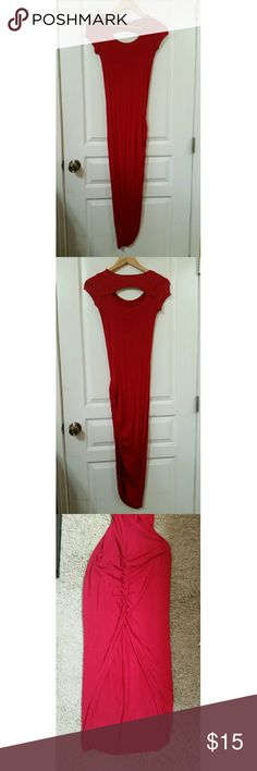 Love Culture Heart♡Hips Long(thin) red dress M I am 5'0 and this hits me right at my ankle. It's nice and stretchy. It hugs my curves right at my skin all around. It will definitely hug and compliment your butt :p It has a nice slit on the side. It has a scoop neck and it feels like a long shirt lol.  I only got to wear this once and I bought it just after summer. It's in good condition. Just washed and dry once. I got bigger so I can't really wear this anymore lol. Love Culture Dresses