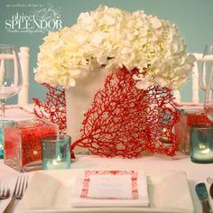Coral beach wedding centerpiece