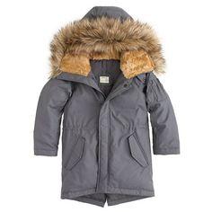 The parka for any cold-weather adventure: a down-filled coat with a fleece-lined, faux fur-trimmed hood. <ul><li>Hits at waist.</li><li>Down-filled cotton/nylon.</li><li>Dry clean.</li><li>Import.</li><li>Online only.</li></ul>
