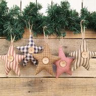 Fabric Star Rustic Farmhouse Ornaments - 11 DIY Farmhouse Style Christmas Ornaments That Are Simple To Make That Will Bring The Perfect Rustic Look To Your Home. Perfect for Christmas Add them to your Christmas tree or mantle. Fabric Christmas Ornaments, Homemade Christmas Decorations, Christmas Ornament Sets, Christmas Crafts, Fabric Christmas Decorations, Farmhouse Christmas Ornaments Diy, Angel Ornaments, Christmas Candy, Simple Christmas