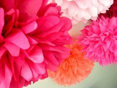 Pink, Indubitably ...10 tissue paper poms // diy kit // wedding // birthday // party decorations // pinkalicious // princess. $35.00, via Etsy.
