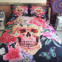 3D Sugar Flower Skull Bedding set    #Skull  #fashion #bedding #homedecor #home #pillows #bedroom #bed #bedroomdecor #hobbylobbystyle