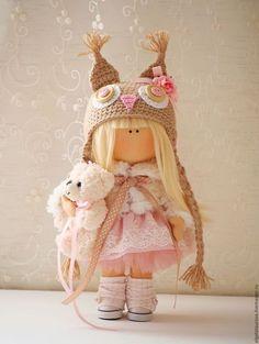 Коллекционные куклы ручной работы. Ярмарка Мастеров - ручная работа. Купить Интерьерная кукла. Handmade. Бежевый, подарок на новый год, хлопок
