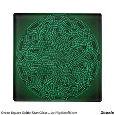 Green Square Celtic Knot Glass Coaster