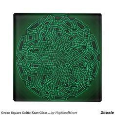 Green Square Celtic Knot Glass Coaster