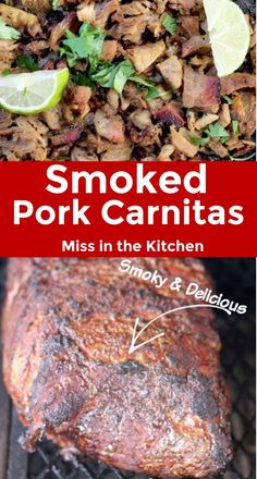 May 2020 - This simple smoked pork butt makes the most incredible carnitas! If taco night is your favorite, add these Easy Smoked Carnitas to the dinner menu! Great for feeding a crowd. Smoked Pork Roast, Smoked Pulled Pork, Smoked Pork Carnitas Recipe, Shredded Pork Tacos, Pulled Pork Tacos, Traeger Recipes, Grilling Recipes, Rib Recipes, Barbecue Recipes