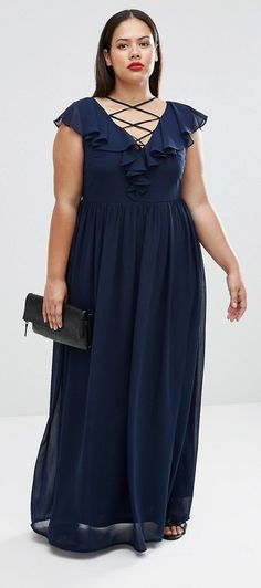 Plus Size Plus Maxi Dress With Lace Up Front