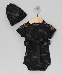 Take a look at this Black Lace Bodysuit & Beanie by Royal Gem Clothing on #zulily today! Omg