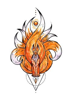 Kitsune ~ Art Print by Deidra Lissa - X-Small Fox Tattoo Design, Tattoo Design Drawings, Cool Art Drawings, Pencil Art Drawings, Animal Drawings, Drawing Sketches, Naruto Tattoo, Anime Tattoos, Fox Tattoos