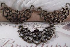 3pcs. Antique Bronze Focal Piece & Connector  by CrystalandRust, $3.49