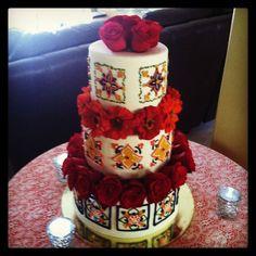 Spain+wedin+cake   Spanish tile theme wedding cake
