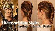 """WonderWoman- Antiope's """"Battle"""" Braid. Complicated. Get some clips. Practice your fishtail and dutch fishtail braids"""