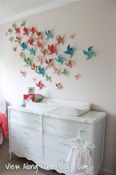 Changing Table Dresser Combination with DIY pinwheels to entertain the little one while having  diaper changed
