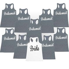 Items similar to Bride, Maid of Honor & Bridesmaid Wedding Bundle - Ladies' Racerback Tank Top on Etsy Bridal Shower Decorations, Bridal Shower Favors, Customized Gifts For Boyfriend, Brides Maid Shirts, Brides Maid Proposal, Bridal Shirts, Personalized Gifts For Dad, Wedding Bridesmaids, Bridesmaid Gifts