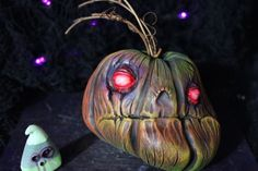 Primitive-halloween-zombie-pumpkin-OOAK-ouija-spooky-tim-burton-creepy-demon-art