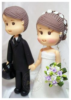 Gum paste bride and groom