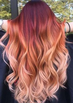 7 Hottest Hair Color Trends For 2019 : New Hair Color Ideas Stop searching here and there just take a glance cause here we have gathered the best collection of trendy hottest hair color. So, do not delay, check out them asap. Red Ombre Hair, Hair Color Auburn, Auburn Hair, Red Hair Color, Hair Color Balayage, Cool Hair Color, Red Hair With Pink Highlights, Orange To Blonde Hair, Red Pink Hair