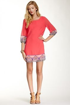 Pink Owl Printed Trim Shift Dress