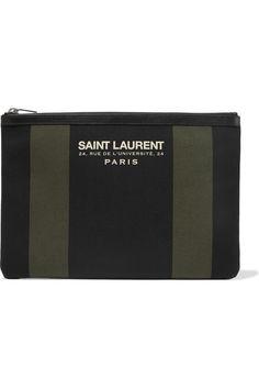 Saint Laurent | Pochette en toile de coton à finitions en cuir Beach | NET-A-PORTER.COM