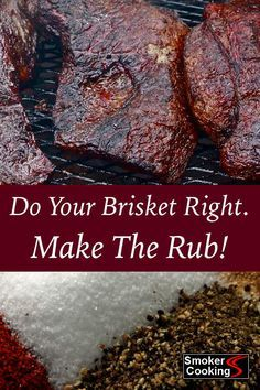 Superb Brisket Rub Recipe Adds Great Flavor To Your Smoked Briskets - Treat your briskets with the respect they deserve, and season them with this great tasting brisket - Smoker Grill Recipes, Beef Brisket Recipes, Smoked Beef Brisket, Smoked Meat Recipes, Brisket Recipe Grill, Smoked Brisket Injection Recipe, Pork Recipes, Best Brisket Rub, Traeger Brisket