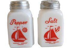 Milk Glass Salt & Pepper Shakers, Pair..  found mine at the flea market