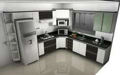 Siyah Beyaz Küçük Mutfak Modelleri