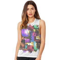 Neon Palm Trees W...  Creating Art on clothing just as unique as you are    Now Available at http://inkrocks.com/products/neon-palm-trees-womens-flowy-scoop-muscle-tank?utm_campaign=social_autopilot&utm_source=pin&utm_medium=pin