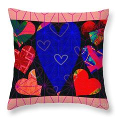 Hearts Throw Pillow featuring the digital art My Heart by Caroline Gilmore